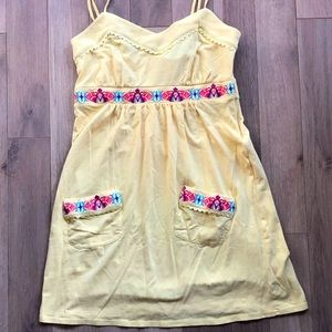 OAKLEY   Yellow Embroidered Pockets Dress